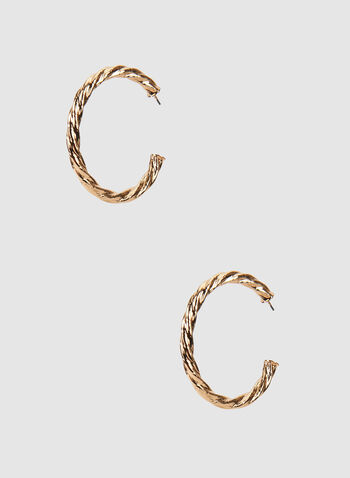 Twisted Metal Hoop Earrings, Gold,