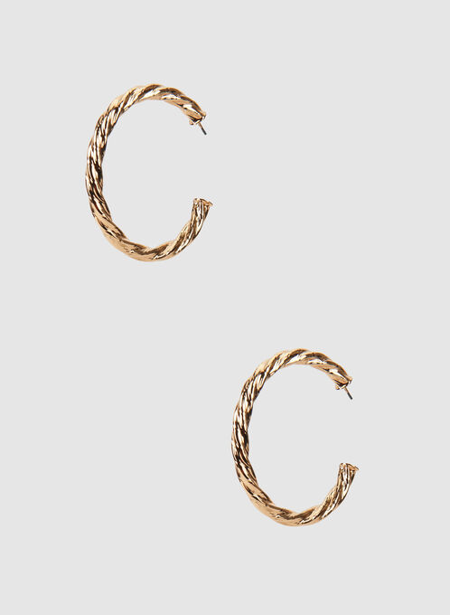 Twisted Metal Hoop Earrings, Gold, hi-res