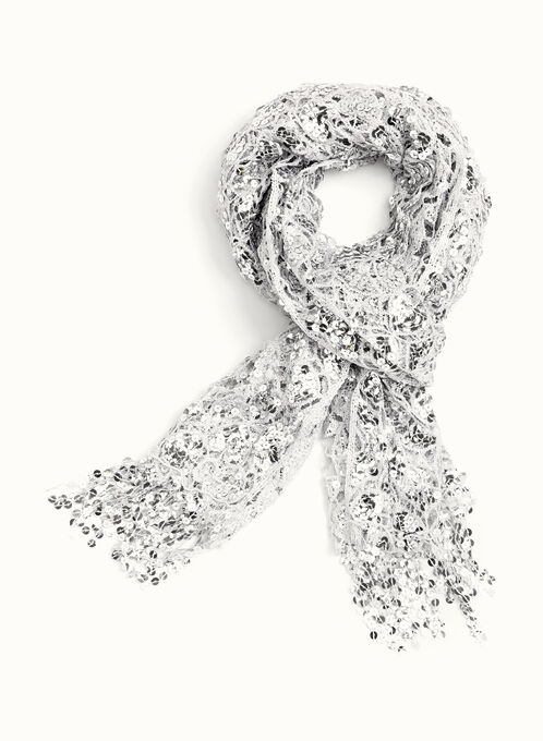 Sequin Harlequin Print Pashmina Scarf , Silver, hi-res