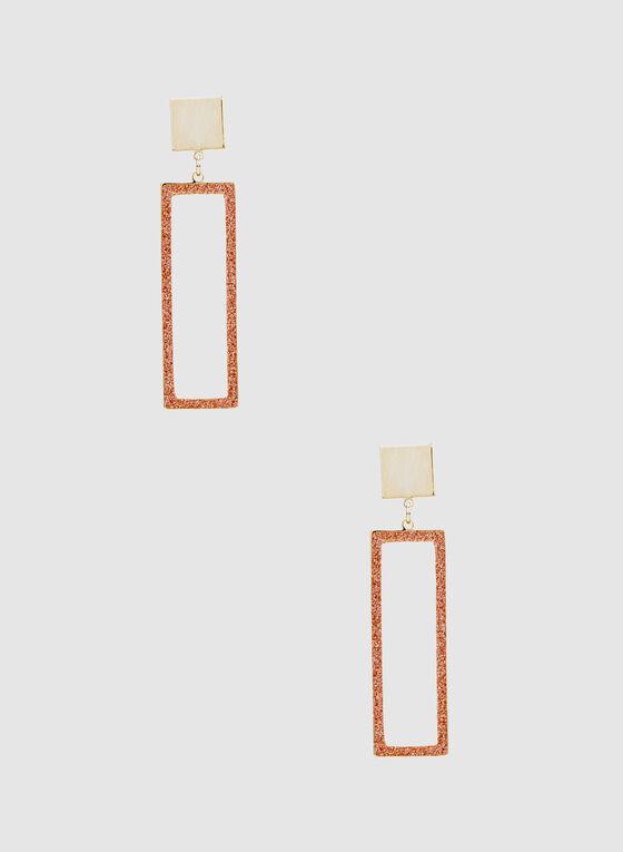 Rectangular Dangle Earrings, Gold, hi-res