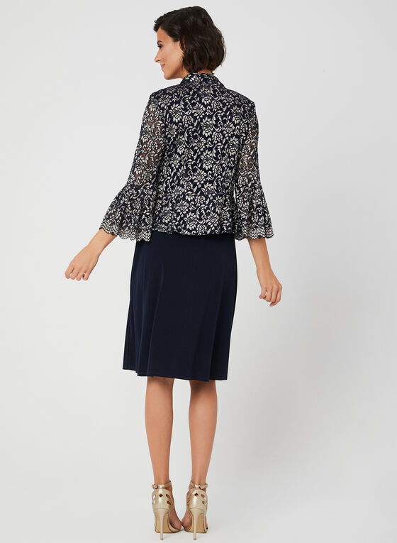 Jersey Dress & Lace Jacket, Blue