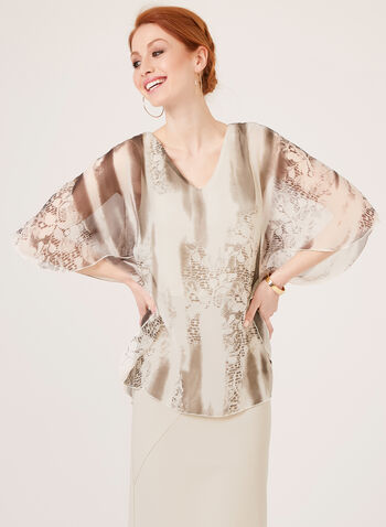 Poncho Blouse With Abstract Print, White, hi-res