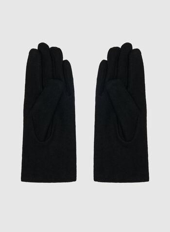Pearl Embellished Gloves, Black, hi-res