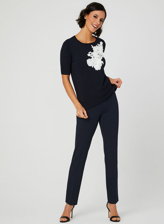 Pantalon pull-on coupe cité à pois, Bleu