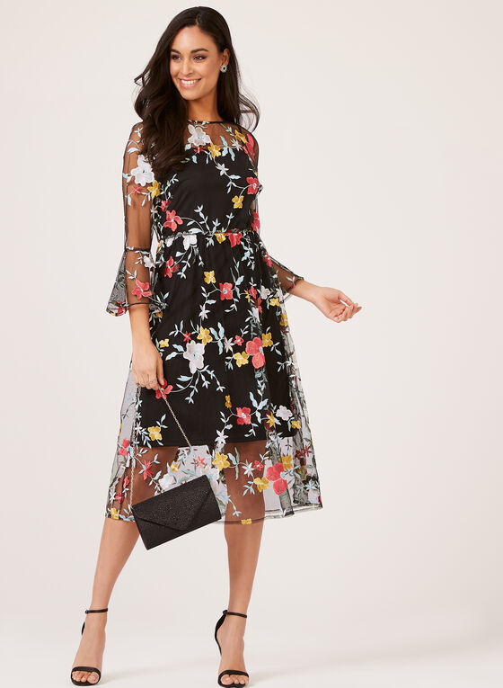 Floral Embroidered Dress, Black, hi-res
