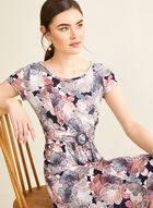 Floral Print Belted Dress, Purple
