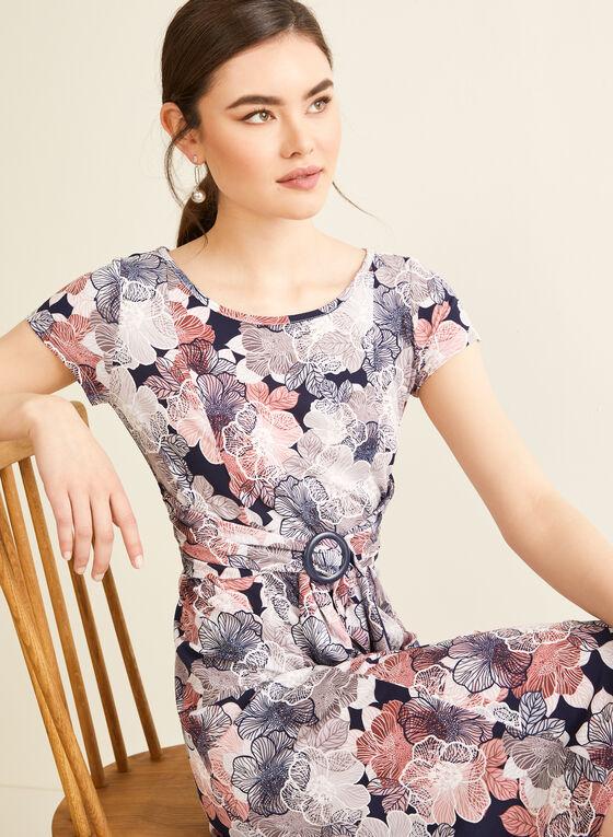 Robe ceinturée à motif floral, Violet