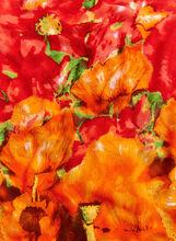 Abstract Floral Print Scarf, Orange, hi-res