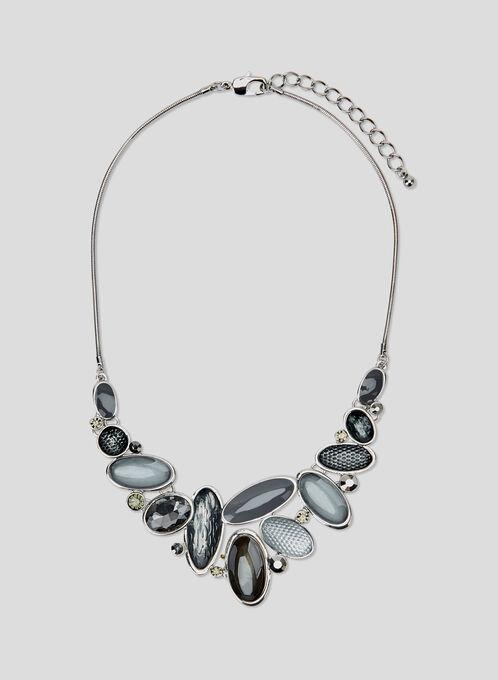 Collier plastron à pierres ovales, Gris, hi-res