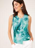 Haut sans manches drapé à motif floral, Bleu, hi-res
