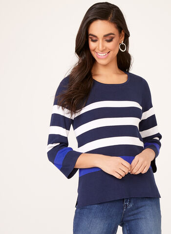 Nautical Inspired Striped Sweater, Blue, hi-res