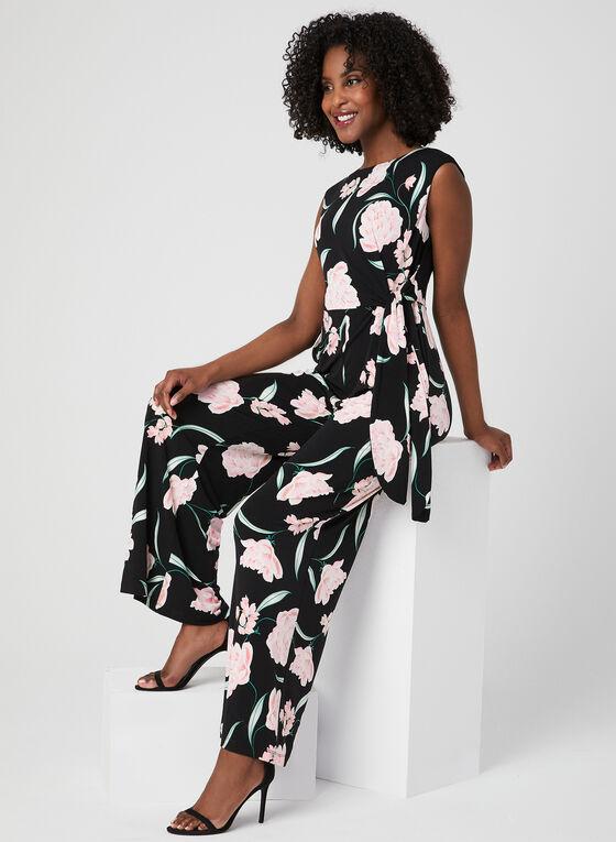 Floral Print Jumpsuit, Black