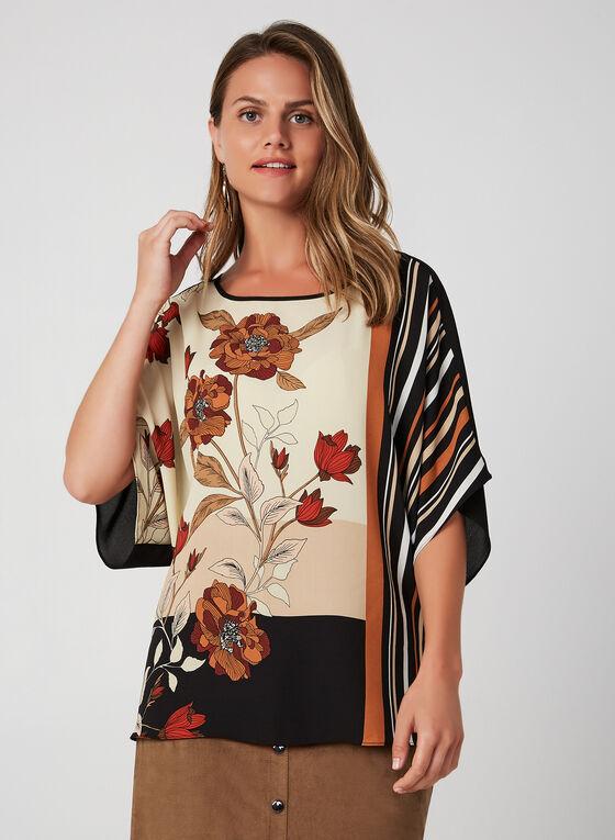 Blouse à motif floral placé et rayures, Noir