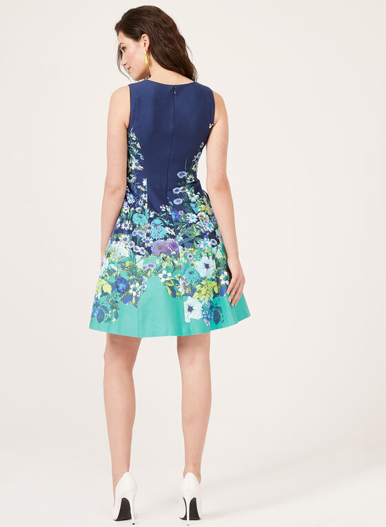 Floral Print Fit & Flare Cotton Dress, Blue, hi-res