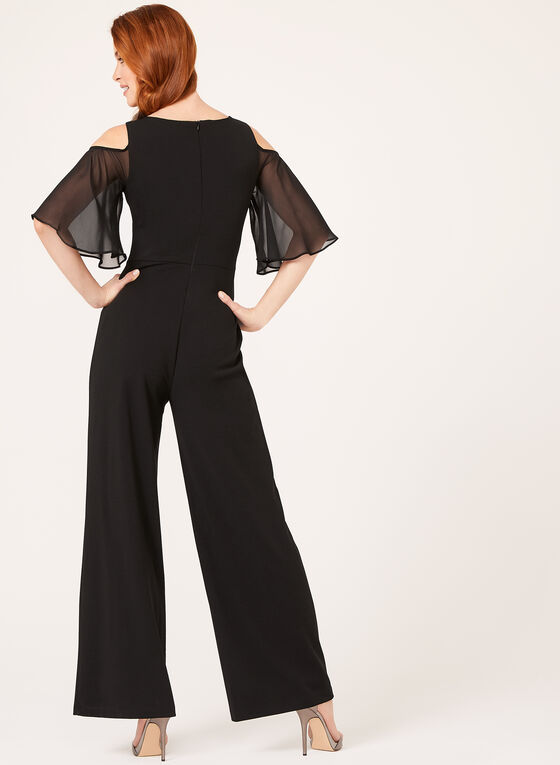Cold Shoulder Chiffon Sleeve Jumpsuit, Black, hi-res