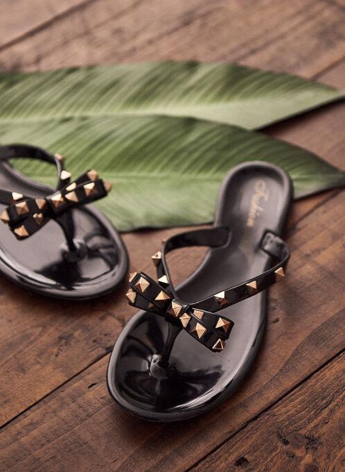 Studded Bow Detail Flip Flops, Black