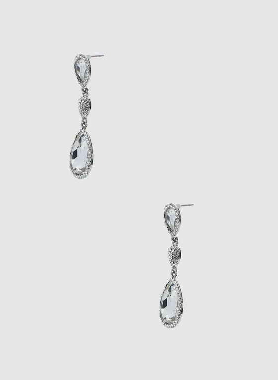 Boucles d'oreilles à pendants pierres et cristaux, Argent