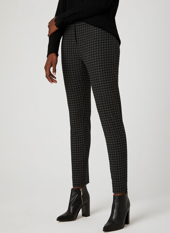 Modern Fit Houndstooth Print Pants	, Black, hi-res