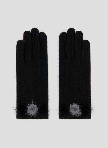 Gants en laine et détails pompons, Noir, hi-res