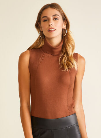 Sleeveless Turtleneck Sweater, Brown,  sweater, sleeveless, turtleneck, rib knit, fall winter 2020