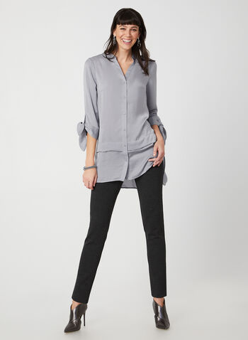 ¾ Sleeve Tunic Blouse, Silver, hi-res,  blouse, satin, 3/4 sleeves, button down, tunic, fall 2019, winter 2019