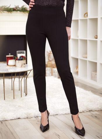 Pantalon à jambe étroite avec détails de boucle , Noir,  facile à enfiler, pull on, jambe étroite, tissu en Point de Rome, pierres du Rhin, boucle, automne hiver 2020