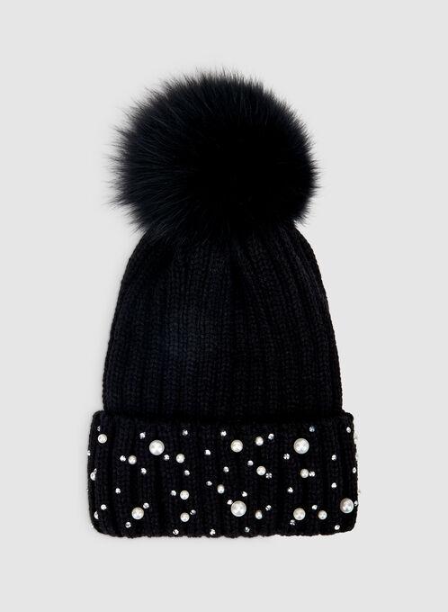 Pearl Embellished Tuque, Black