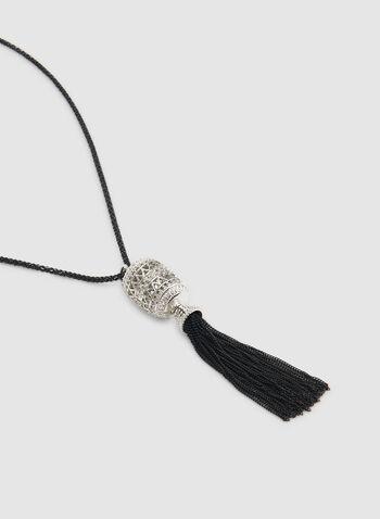 Collier à pendentif pompon , Noir, hi-res,  collier, long, pompon, cylindre, automne hiver 2019