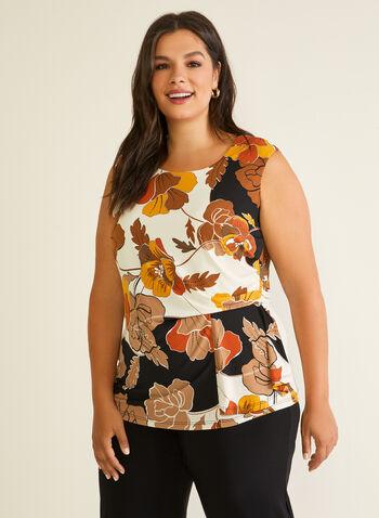 Floral Print Drape Detail Top, Black,  top, floral, cap sleeves, drape, spring summer 2020