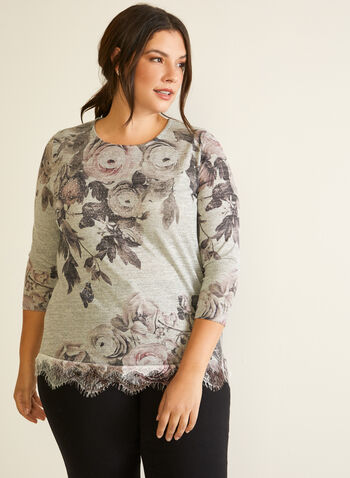 Floral Shirt With Crystals, Red,  Fall winter 2020, shirt, crystals, 3/4 sleeves, floral, round neck, lace hem, print