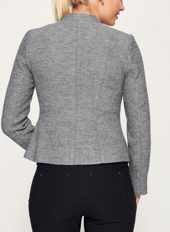 Boiled Wool Cropped Jacket, Grey, hi-res