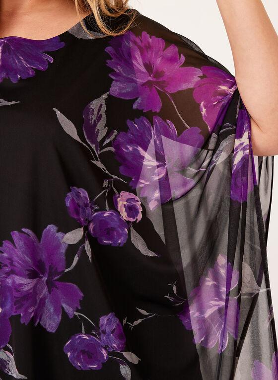 Floral Print Mesh Poncho, Purple, hi-res