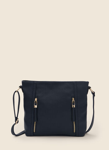 Zipper Detail Crossbody Bag, Blue,  handbag, strap, crossbody, zipper, faux leather, fall winter 2020