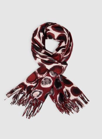 Foulard oblong à motif ronds, Rouge,  foulard, oblong, ronds, boutons, franges, automne hiver 2019