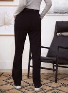 Wide Leg Contrast Trim Pants, Black