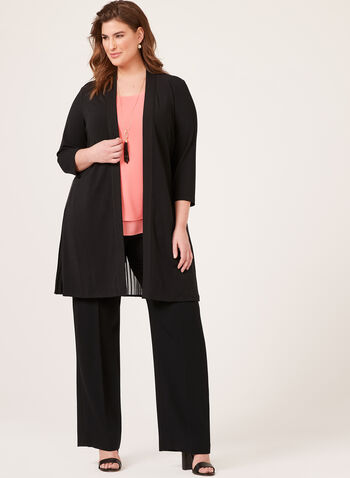 Linea Domani - ¾ Sleeve Pleated Chiffon Cardigan, Black, hi-res