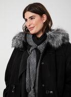 Manteau à col en fausse fourrure, Noir, hi-res