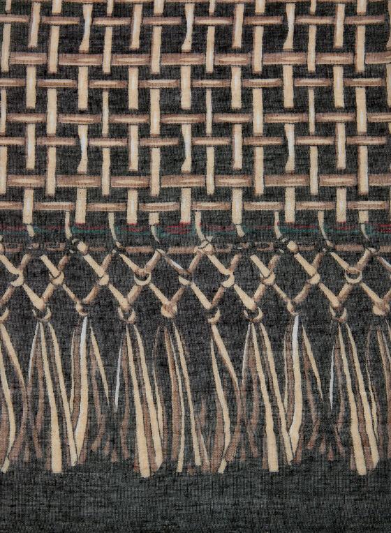 Weave Print Scarf, Grey, hi-res