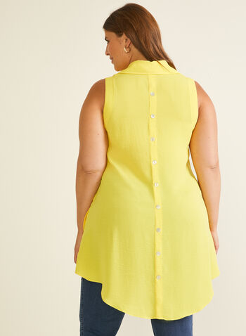 Button Down Tunic Blouse, Yellow,  top, tunic, sleeveless, shirt collar, satin, buttons, spring summer 2020
