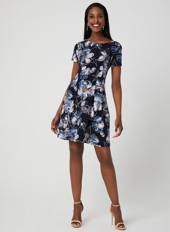 Floral Print Jersey Dress, Blue,  day dress, floral print, short sleeves, fit and flare, jersey, spring 2019