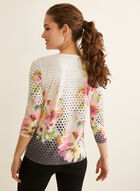 T-shirt à fleurs et pois et détails cristaux, Gris