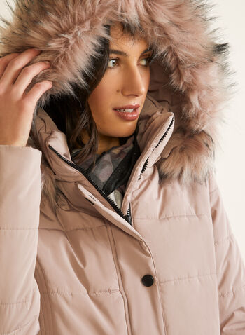 Manteau matelassé en duvet végane, Rose,  automne hiver 2020, manteau, manteau d'hiver, duvet, capuchon, fausse fourrure, poches, matelassé, iridescent, végane, poches