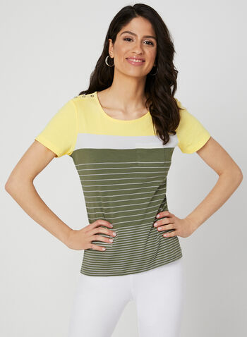 Stripe Print T-Shirt, Green, hi-res,  cotton, short sleeves, spring 2019
