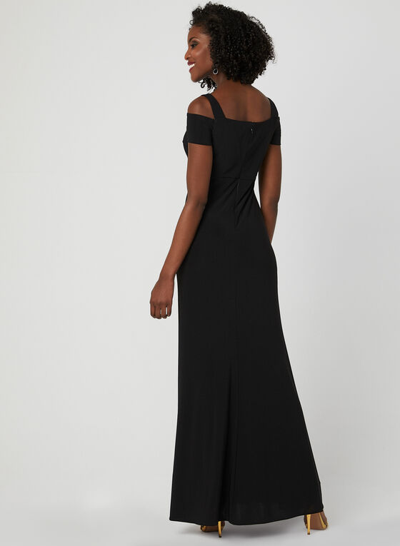 Cold Shoulder Empire Waist Dress, Black, hi-res
