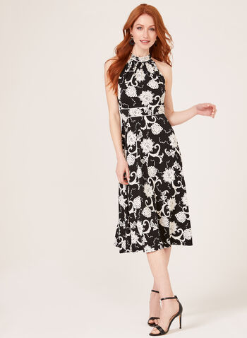 Floral Puff Print Day Dress, Black, hi-res