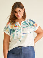 Tropical Print Linen Blend Tee, White