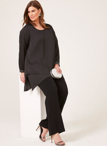 Scoop Neck Tunic With Sleeve Embellishments, Black, hi-res