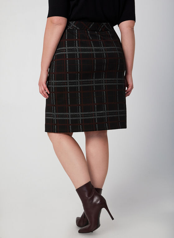 Plaid Pencil Skirt, Black
