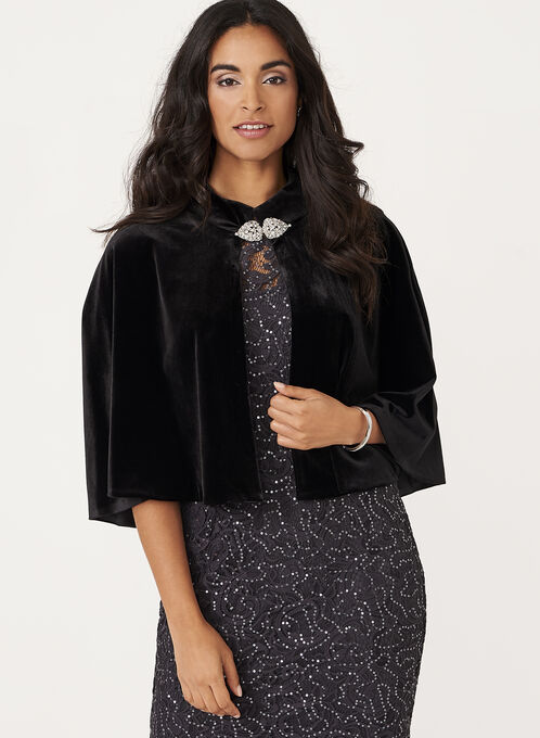 Crystal Detail Velvet Cape , Black, hi-res