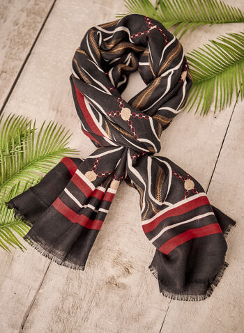 Wavy Abstract Print Scarf, Black,  fall winter 2021, accessories, scarf, gra, rectangular, oblong, crepe, winter accessories, abstract, wavy, border, stripe